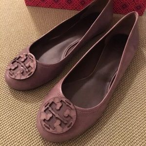 Tory Burch Shoes - Tory Burch rare taupe embossed Reva flats 10.5